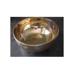 Nepal Klangschale golden glänzend 550 g - 649 g mit Lederklöppel