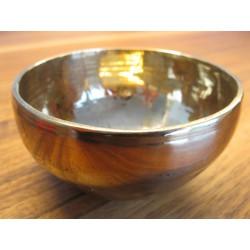 Nepal Klangschale golden glänzend 300 g - 349 g mit Lederklöppel