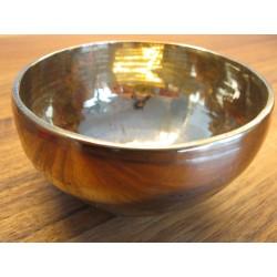 Nepal Klangschale golden glänzend 400 g - 469 g mit Lederklöppel